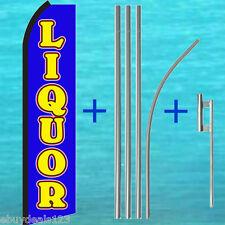 Liquor Blue Swooper Flag + 15' Tall Pole + Mount Kit Flutter Feather Banner Sign
