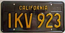 California 1963 BLACK License Plate HIGH QUALITY # IKV 923