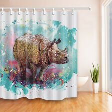Watercolor Rhinoceros Bathroom Shower Curtain Fabric w/12 Hooks 71*71inches