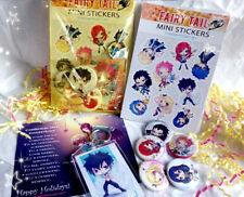 Fairy Tail Anime Gift Set - Buttons Keychain Stickers Bundle