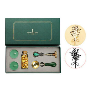 Sealing Wax Tablet Beads Candle Detachable Spoon Stamp Set Storage Box Vintage