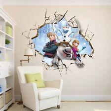 3D Crack QUEEN ELSA FROZEN Princess Decal Removable WALL STICKER Home Decor Kids