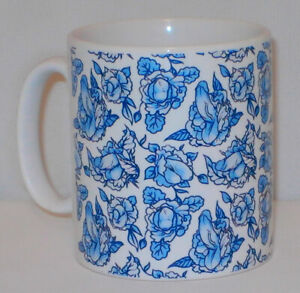 Blue Floral Penis Pattern Mug Funny Willy Cock Girlfriend Boyfriend Lover Gift