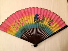 Vintage Hand Painted Roses Folding Oriental Fan PInk Yellow Blue Floral Flowers