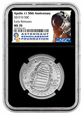 2019D Apollo 11 50th Astronaut Clad Half Dollar Ngc Ms70 Er Black Core Sku57190