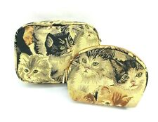 Kitty Cats Tapestry Travel Makeup Bag Cute Toiletry Cosmetic Pouch Set of 2