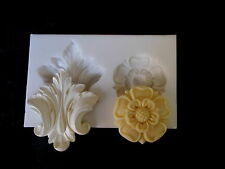 SILICONE RUBBER MOULD TUDOR ROSE & ORNATE LEAF ANY PROJECT