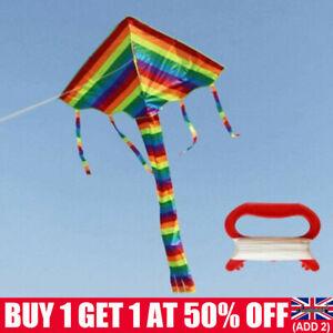 Children Rainbow Kites Kids Toy Outdoor Flying Game 95*160cm Kite With 30M Line
