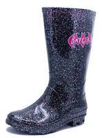 GIRLS KIDS BLACK GLITTER BATGIRL WELLIES RAIN SPLASH WELLINGTON BOOTS SIZES 9-2