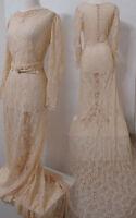 VINTAGE 30's/40's Cream Lace Wedding Gown Bias Cut Cold Shoulder w/ Long Train S