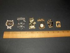 VINTAGE (6) ITEM COSTUME JEWELRY CAT PIN BROOCH LOT