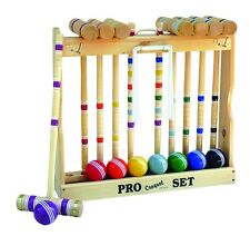 "Amish-Made Deluxe 8 Player Croquet Game Set, 24"" Handles"