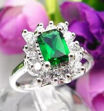 925 Sterling Silver Filled M35r Emerald Green Cocktail Engagement Ring Size 6.5