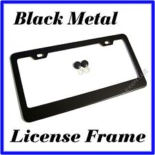 1PC BLACK STAINLESS STEEL METAL LICENSE PLATE FRAME + SCREW CAPS TAG COVER /BF a