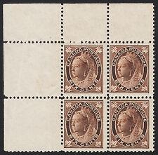Canada 6c QV Leaf Corner Block, Scott 71, F-VF MNH, catalogue - $1,250