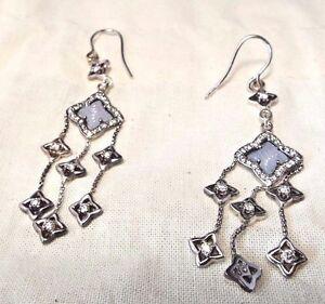David Yurman Sterling Silver Carved Chalcedony & Diamond Quatrefoil Earrings