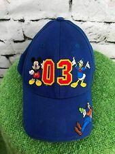 Disneyland '03 Boys O/S Hat Blue  Mickey Mouse Donald Duck Goofy Baseball Cap