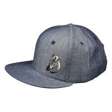 Zebra Head Snapback Hat - Washed Blue Denim