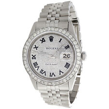 Reloj rolex para hombre diamantes 36 mm Datejust Jubilee banda Número Romano Esfera Pave 4 CT