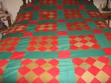 "Vintage PatchWork Block Quilt Top 98"" x 66"""