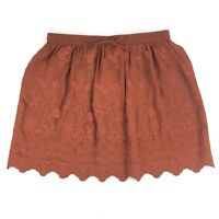 LOFT Skirt Burnt Orange Pull On Elastic Waist Embroidered Floral Lined Sz Large