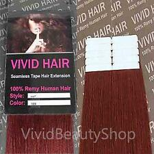 10pcs 22 inches Remy Seamless Tape Skin Weft 100% Human Hair Extensions RED #3RR