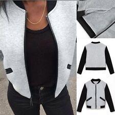 Fashion Womens Ladies Classic Bomber Jacket Vintage Zipper Baseball Outwear Coat