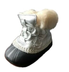 NIB Baby Sorel Caribootie Booties Silver Black Infant 3