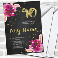 Chalk Gold Confetti Pink Flowers 90th Birthday Party Invitations
