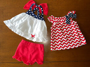 Baby Girl Clothing American 3-Piece Lot Dress Top Shorts 4th of July 0-3 Months