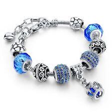 European Charm Bracelet Crown Tibetan Silver and Crystals