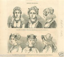 Costume Women Hairstyle Frise Friesland Netherlands Pays-Bas GRAVURE PRINT 1859