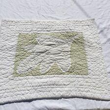 """Patchwork Leaf Pillow Sham Eddie Bauer Home Standard 26"""" x 32"""" White Green"""