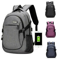 Anti-theft USB with Charger Port Backpack Laptop Notebook Mens Travel School Bag