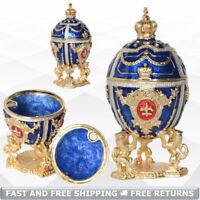 Russian Faberge Egg Shaped Vintage Trinket Box Holder for Ring Bejeweled Crystal