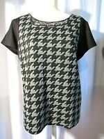 WORTHINGTON WOMEN'S BLACK HOUNDSTOOTH SHORT SLEEVE BLOUSE SIZE XL NEW WITH TAGS