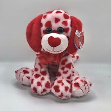 """First & Main Hartlyn Puppy Dog Plush Red White Hearts Green Sparkle Eyes 12"""""""