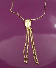 18k oro riempito unico ITALIANO liscio con Perline Lariat Collana Catena 18ct GF 44cm