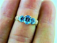Dashing !!! 10K Yellow Gold Cluster Ring w Swiss Blue Topaz & Diamonds, sz 8