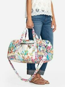 JOHNNY WAS NWT DREAMER QUILTED BOHO FLORAL DUFFEL DUFFLE L WEEKENDER TRAVEL BAG