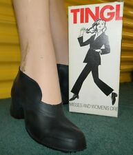 """VTG Womans TINGLEY Black Dress Rubber Overshoes Boots Size Small """"I"""" 4-5.5"""