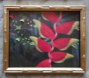 """3D FRAMED ART HANDMADE PAPER BUTTERFLY WALL ART""""A Life of Haleconia"""" TROPICAL"""