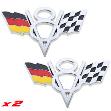 x2 German Flag V8 Badge 3D Metal Truck Boot Sticker Audi V8 Mercedes VW Touareg