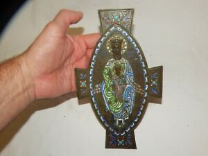 VERY OLD  SPIRITUAL CROSS/CRUCIFIX WITH EMBOSSED HEADS AND ENAMEL DESIGN..
