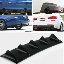 23'' x6'' Lower Rear Body Bumper Diffuser Shark Fin Kit  5 Fin PU Spoiler Black