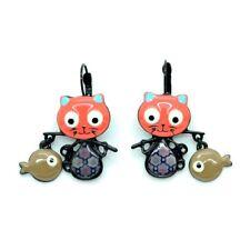 Boucles d'oreilles LOL Bijoux LOLILOTA Le chat pêcheur turquoise BFLOL053-orange