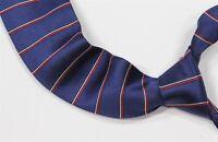 Turnbull & Asser Blue w/ Red/White Twill Horizontal Striped Handmade Silk Tie
