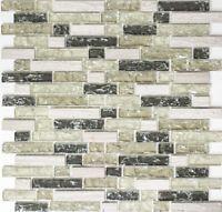 Mosaik Fliese Glasmosaik Natursteinmosaik mix graugrün Wand Bad Art: 87-V1352_b