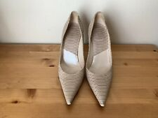 Christian Dior Miss Shoes Nude Beige Snake Print Pumps Heels 38.5 Womens 8.5