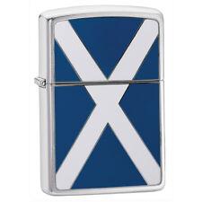 More details for zippo scottish flag emblem classic chrome lighter windproof lifetime guarantee